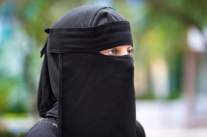 An example of a generic picture of a woman wearing a niqab, or face covering.