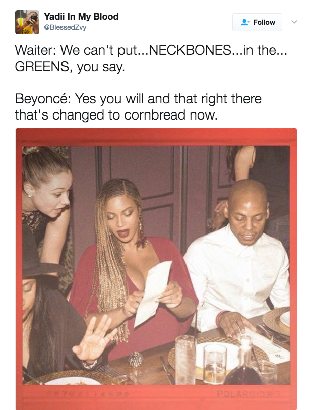 sub buzz 3352 1493311164 8?downsize=715 *&output format=auto&output quality=auto this beyoncé menu meme is the funniest thing you'll see all day,Beyonce Ordering Food Meme