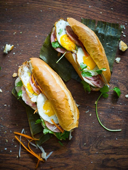 'My fave is Vietnamese banh mi op la, which is basically just a fried egg in a delicious crispy small baguette, with a little chili sauce. Wash it down with some fresh juice and a ca phe sua da (Vietnamese iced coffee), and it'll be the best start to your day!' —Kieran Wemyss Crowe, FacebookRecipe here.