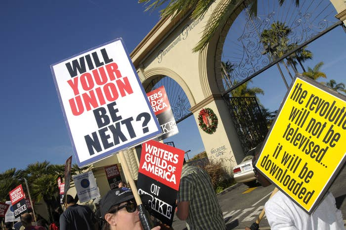 Strikers picket during the 2007-8 writers strike at the Paramount Pictures gates.