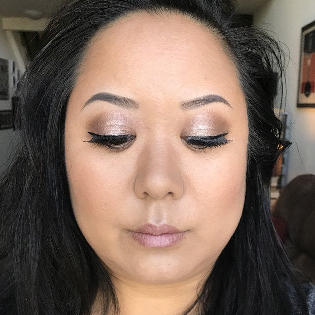 I did my best to incorporate all the techniques I learned in the past four days. I applied my brows first and then the rest of my eye makeup (YEP including false lashes!) as best as I could remember from Huda's tutorial. And then I opted to use the Beautyblender again for my foundation and contour as well. I used my bronzer, highlight, and setting powder, and finally my new fave: nude lips! Time it took me: 35 minutes.