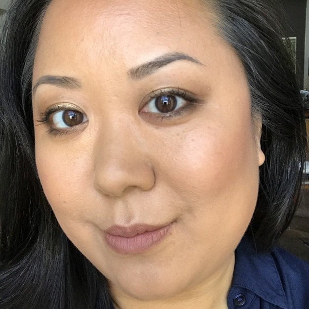 So, I WAY preferred this look on me to day one's. I thought maybe the palette wouldn't work, but it came out more natural-looking than I expected. I was also very, very pleasantly surprised by the nude lip color, which is something I NEVER wear (I used Urban Decay's 24/7 Glide-On Lip Pencil in 1993 — medium brown) — because doesn't that seem pointless? Turns out...NOPE! I loved how the pencil liner kind of evened out the color in my lips. I definitely felt less self-conscious in this look, but I still avoided prolonged contact with my colleagues like the plague.Verdict: Thumbs-up.