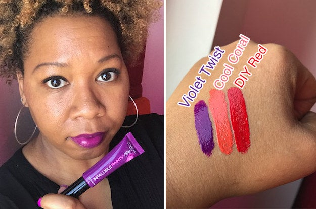 """""""First of all, ignore my eyebrows. I'm growing them out. Again. Now, I tend to wear matte lipsticks or sheer glosses, so I thought trying L'Oreal Infallible Paints would be a good compromise, and I was right! I liked the creaminess and the staying-power. The color Violet Twist didn't budge, even after a case of the afternoon munchies. I received lots of compliments on Cool Coral, which I really liked. I was wearing Cool Coral when I went to grab lunch one day, and the host gave me free chocolate chip cookies. I think it was because of my bold lip choice! It's brighter than what I normally wear, and it really makes my bottom lip look luscious. As a black woman who wasn't blessed with much of an upper lip, I take my victories where I can. DIY Red had more orange to it than I thought it would, but once it settled, I could easily see it becoming a summer nights favorite. I'd definitely recommend these, but warn that a little goes a long way. I had to do a lot of blotting."""" —Nichole Perkins, BuzzFeed Contributor Get them on Amazon for $7.99 each."""