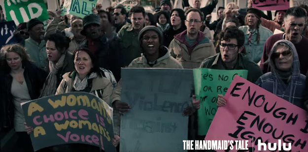 There's a women's march that occurs in The Handmaid's Tale, which was filmed before Donald Trump was elected president and well before the actual Women's March on Washington.