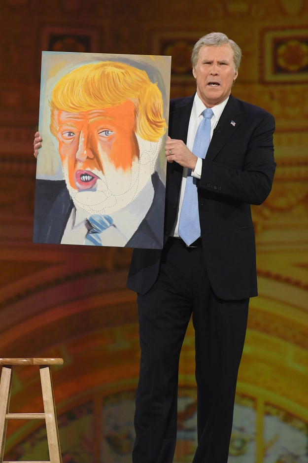And showed off a painting he did of Trump.