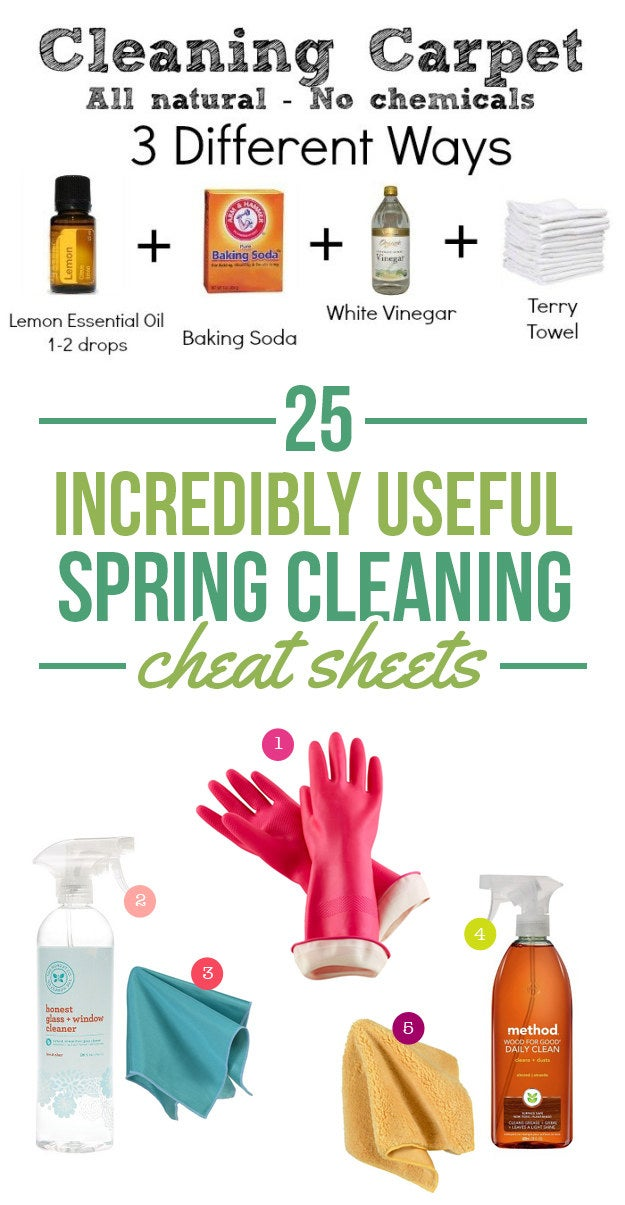 25 incredibly useful spring cleaning cheat sheets