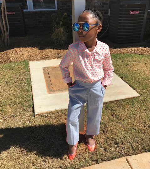 "'When your daughter matches your fly. #BlackGirlMagic,' Ace Hood captioned his photo on Sunday. 'She was like, 'Mom I want to put some shades on today,'"" Saratt told BuzzFeed News. She said Sailor intentionally went for a 'business attire' look."