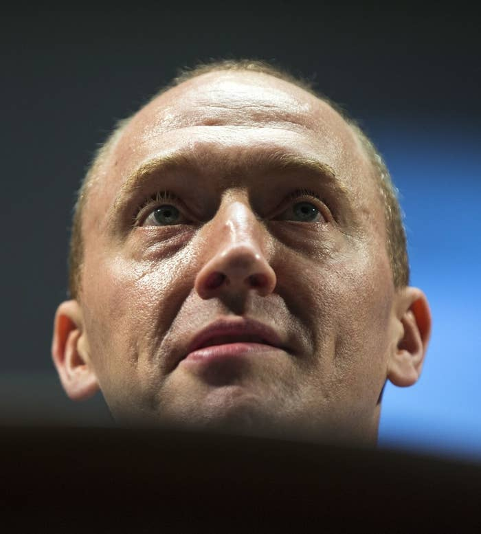Carter Page, then-adviser to Donald Trump's campaign, speaks at the graduation ceremony for the New Economic School in Moscow last July.