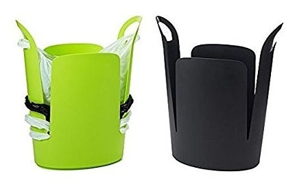 Promising review: 'I love this trash can. It's so convenient for the bathroom where you definitely need a liner bag. A great way to recycle your grocery shopping bags and keep them out of sight. When you're ready to take out the trash, you simply pull the liner out then shimmy up the next bag and you're good to go. The plastic is very durable and sleek looking. The handles on the two side arms are great too, and make this such an awesome overall design!' —J BPrice: $33.95
