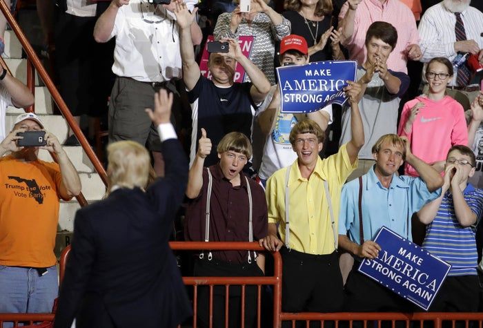 Supporters cheer for Trump at the rally Saturday in Harrisburg.