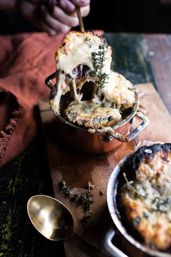 French onion soup with cheesy French toast is WAY better than getting drenched in rain. Get the recipe from Half Baked Harvest.