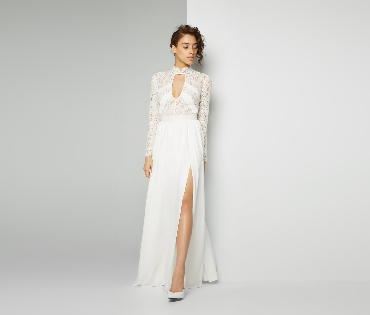 pretty wedding dresses target wedding dresses This Victorian long sleeve lace gown with not so shy keyholes and a split skirt