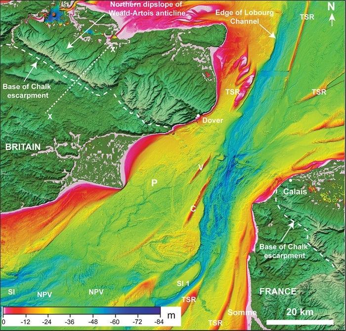 A sonar scan of the bottom of the English Channel. The deep blue between Calais and Dover is where there was probably a great waterfall caused by a lake bursting its banks.