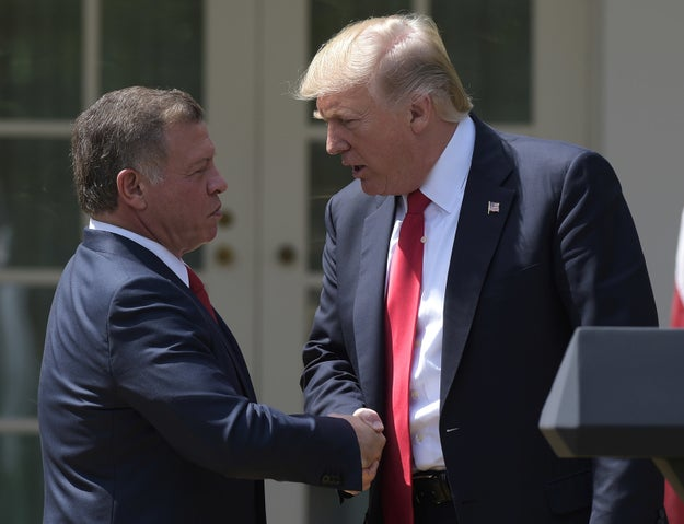 "During a news conference with Jordan's King Abdullah II on Wednesday, President Trump touched on the many world crises that he said he had ""inherited."""