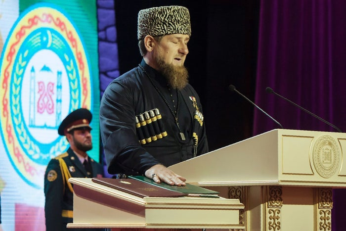 Ramzan Kadyrov takes an oath during his inauguration as the head of Russia's Caucasus region of Chechnya for a third term.