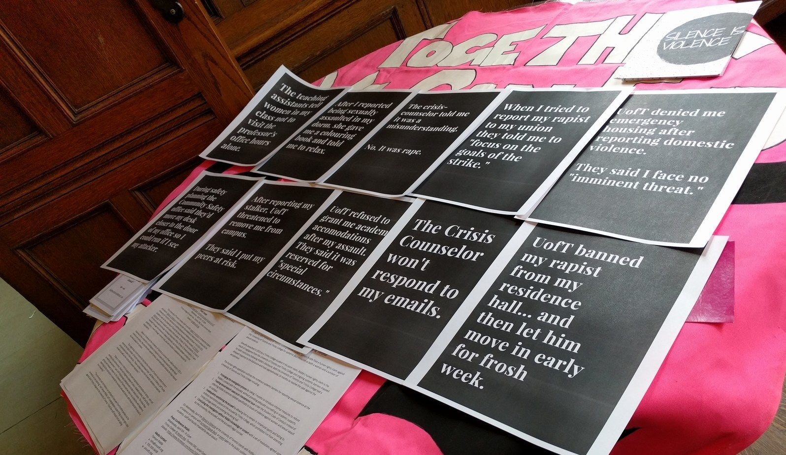 Sexual assault awareness posters that were put up around the U of T campus by the group Silence Is Violence.