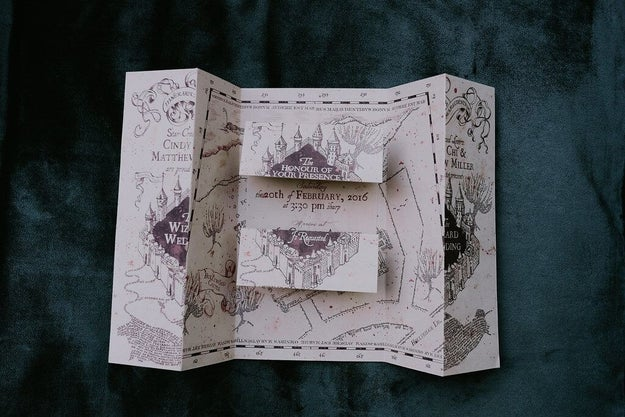 Exhibit A: Their Marauder's Map wedding invitation that Cindy designed, produced, and printed all on her own.