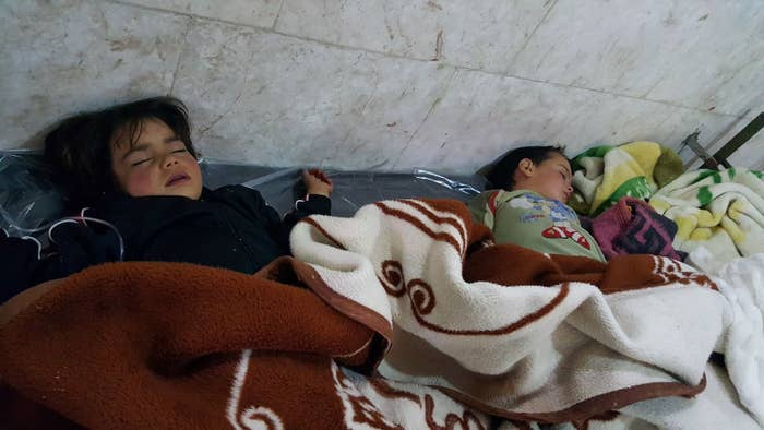 Survivors of the chemical attack are shown.