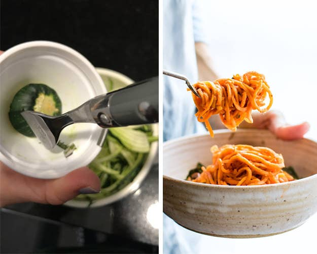 The simple solution to not wasting any food, and keeping your fingers in tact? A fork. If you stick a fork into the end of the vegetable, you can twist the fork and spiralize the whole thing without getting your fingers close to the blade. Alternatively, if you don't want to deal with a hand-held spiralizer, just use a peeler for quick, ribbon-like veggie strands.Above: Make this vegan sweet potato spaghetti from Cotter Crunch, then add some protein with these vegan meatballs.