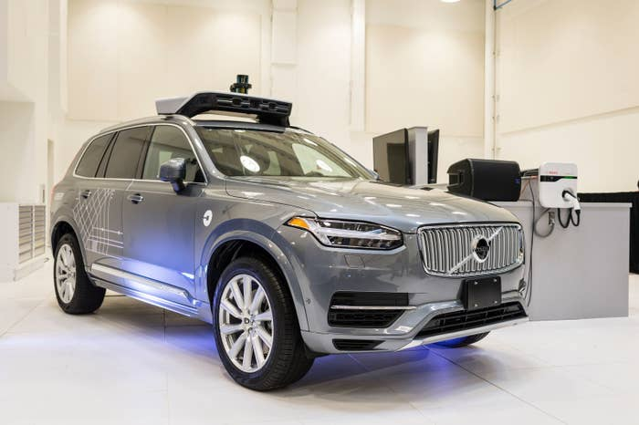 A pilot model of the Uber self-driving car is displayed at the Uber Advanced Technologies Center on September 13, 2016 in Pittsburgh, Pennsylvania.