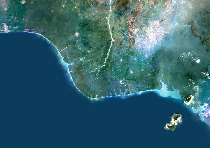 imagen en color vía satélite verdadera del río Níger Delta en Nigeria, África