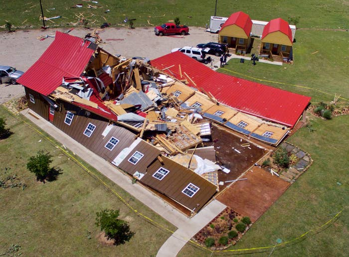 The Rustic Barn, an event hall in Canton, Texas, after tornadoes ravaged the town Sunday.