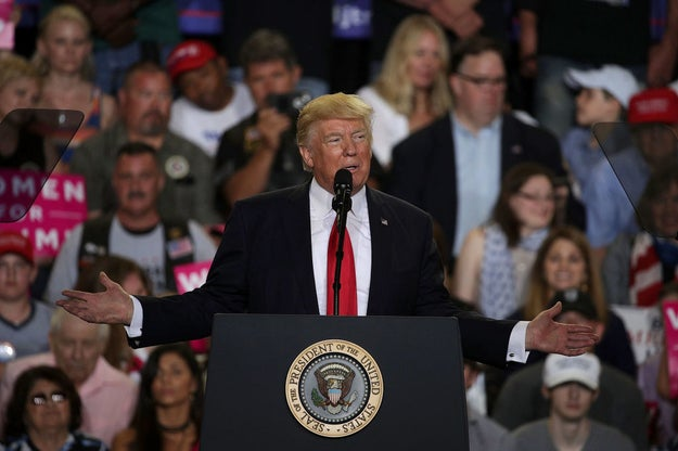On Saturday, Donald Trump held a rally in Harrisburg, Pennsylvania to mark his 100th day in office as President of the United States.