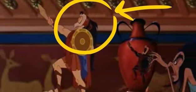 During a scene in Hercules where the Greek God himself is having his portrait painted onto an urn, he is wearing a slain lion's pelt as a headdress*, which he eventually throws onto the ground after having a small temper tantrum.