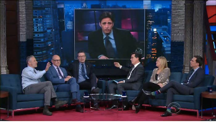 The reunion included Stewart, Rob Corddry, John Oliver, Samantha Bee, and Ed Helms.
