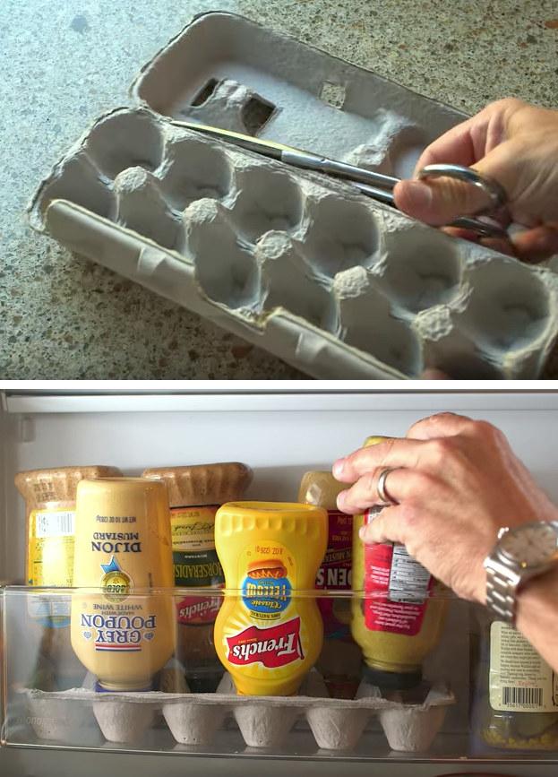Repurpose an egg carton for Alton Brown's no-leaky-mustard hack.