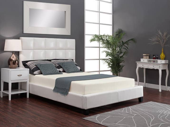 "Promising Review: ""I researched forever, and hemmed and hawed, and finally took the bite on this one. Queen 12-inch. Needed a mattress for the guest room. The price was great, fast delivery, nice quality if you like a firm mattress. No off-gassing. Expanded beautifully — to get the corners unfurled I had to unzip the casing it came in to give it some room."" —diane a.Price: $110.07+ Sizes: twin, full, queen, and kingThickness: 6-inch, 8-inch, 10-inch, and 12-inchTry it with this box spring for $71.79+ (available in sizes and twin, twin XL, full, queen, and California king) and 6-inch platform bed frame for $73.33+. Box spring not required, but reviews say it's OK to use if you prefer one."