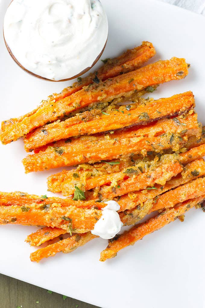 It's hard to replace french fries, but these are covered in Parmesan and garlic so...Get the recipe here.
