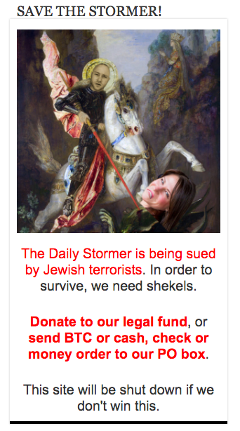 A graphic promoting the fundraiser for Anglin's legal defense