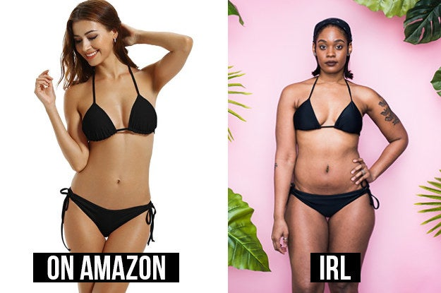 """Here's what the reviews said: • """"This bikini fit perfectly! I got it in pink and black. Quality material for the price and it's such a cute style!""""• """"I like it, it provides pretty good support. I'd buy it again."""""""