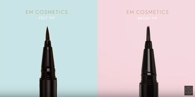 "First I tried the eyeliners. One has a ""marker-like"" felt tip ""for bolder, graphic lines,"" and the other has a brush tip for ""complete control over creating thick to thin lines with ease."""