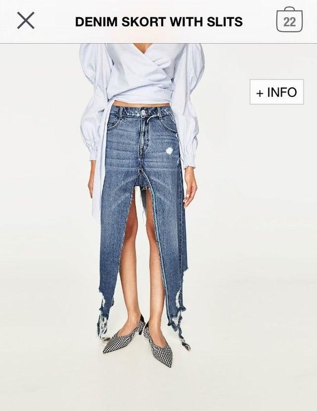 """Esta falda que la hizo alguien que cogió unos pantalones y unas tijeras y dijo """"tengo una idea""""."""
