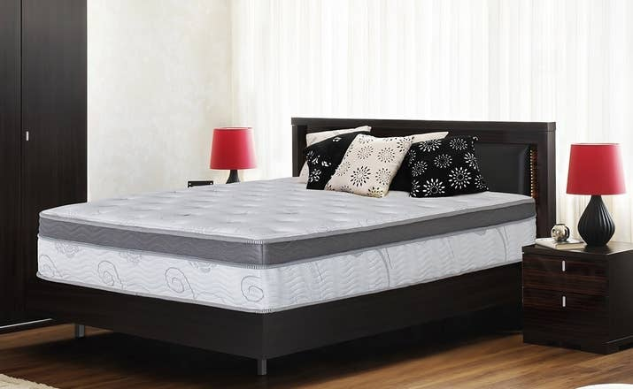 """Promising Review: """"We have been sleeping on this mattress for about two months. It is amazing! I have had almost no pain when I wake up, no longer wake up my husband when I roll over, and am sleeping better and waking up rested. My only complaint is that I have to get out of it in the morning."""" —N. BartholomewPrice: $239+ Sizes: full, queen, and kingThickness: 13-inchTry it with this steel-slat frame for $89+ (available in twin, full, queen, and king). No box spring required."""