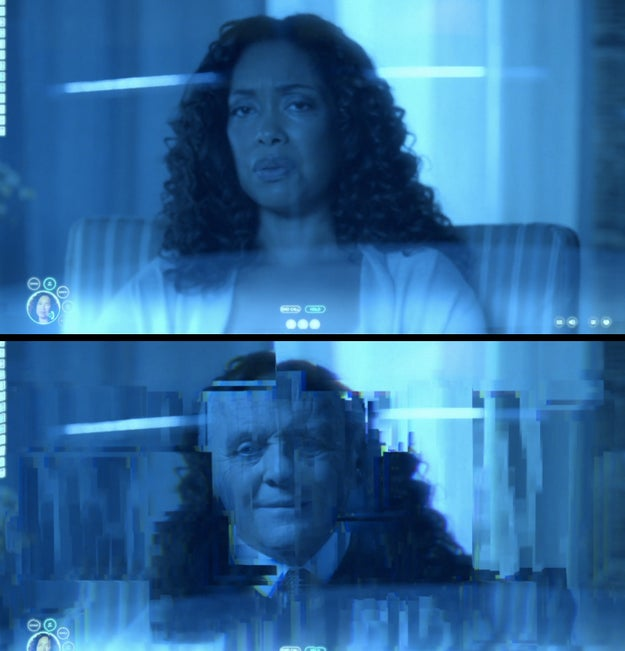 During Bernard's video chat with the woman from his memories, the screen quickly flickers and shows Ford's face.
