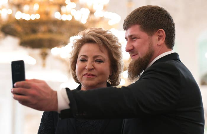 Chechen leader Ramzan Kadyrov takes a selfie with the chair of the Federation Council of Russia, Valentina Matviyenko.