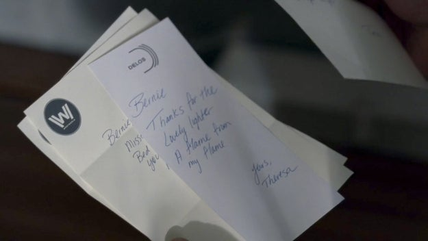 """The letter Theresa wrote Bernard says """"Bernie. Thanks for the lovely lighter. A flame from my flame. Yours, Teresa."""""""