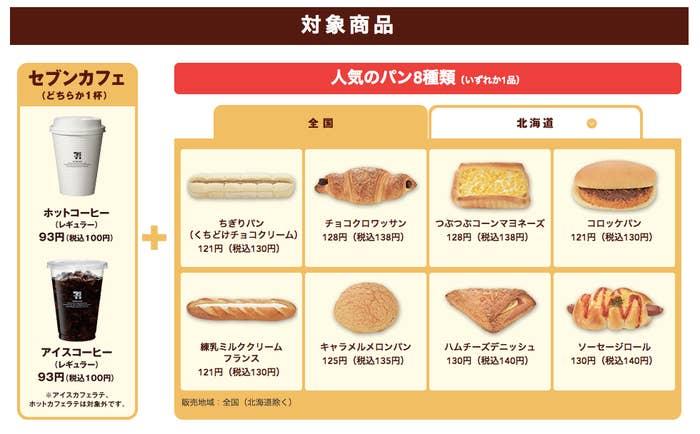 パンは8種類から選べる。例えば、コーヒー(税込100円)とハムチーズデニッシュ(税込140円)を購入すれば、40円お得になる。コーヒーはプラス50円でサイズアップも可能だ。