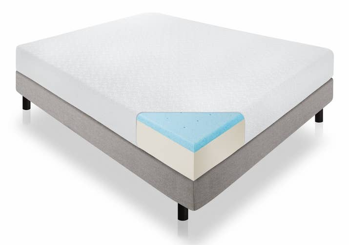 """Promising Review: """"I have a 15-year-old son who kept complaining about his old mattress, saying he couldn't sleep on it. He was having all kinds of back pain and, just in general, growing pains. I ordered this mattress. It came early, big plus. My son is now sleeping through the night and not complaining. He loves it."""" —ellaPrice: $115.96+ Sizes: twin, twin XL, full, full XL, queen, king and California kingThickness: 6-inch, 8-inch, 10-inch, and 12-inchTry it with this rustic wood platform frame for $85+ (available in sizes twin, full, queen, and king). No box spring required."""