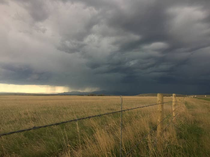 A thunderstorm between Great Falls and Wolf Creek, Montana