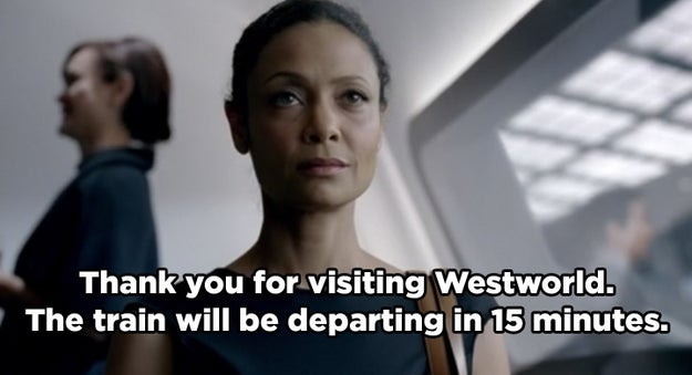 During the finale, when Maeve gets on the train to leave the park, an overhead announcement says that the train is leaving in 15 minutes. At this point, there are only 15 minutes left in the episode.