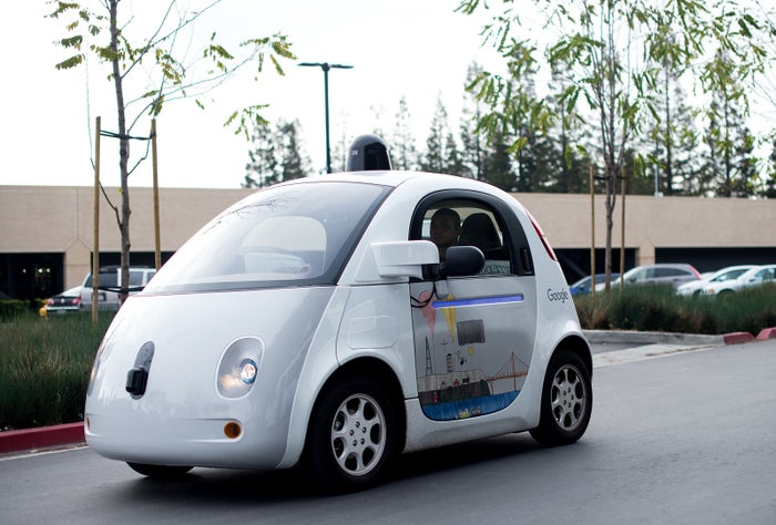A self-driving car at Google's headquarters.