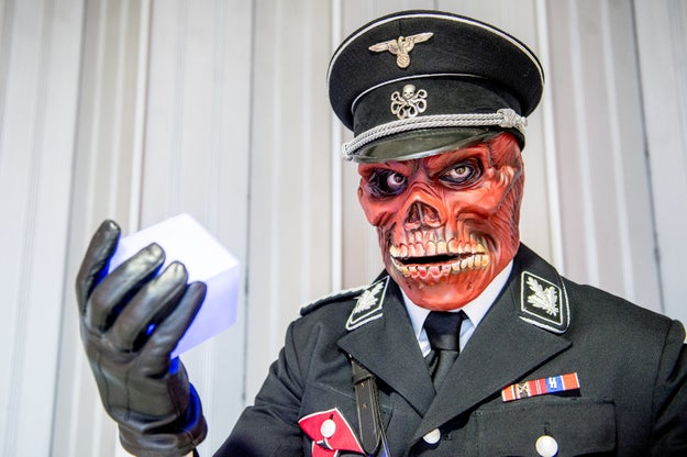 This is a comic book fan in a cosplay costume of Red Skull, a Marvel character and member of Hydra. He is not affiliated with the White House.