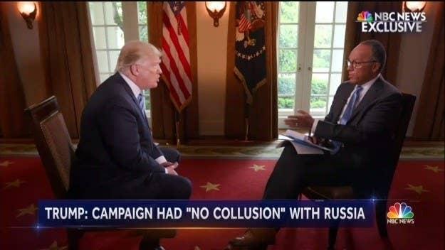 President Trump talking to NBC's Lester Holt.