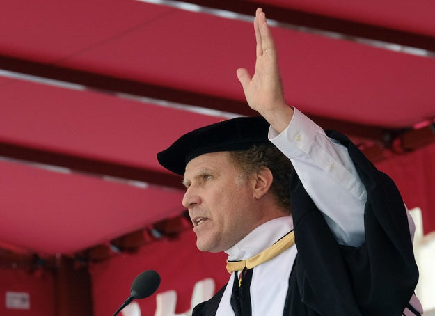 """Ferrell reminded the large student body and their parents that this is not the first speech he's given at a distinguished school: """"The institutions I have spoke at previously include Bryman School of Nursing, DeVry Technical School, Debby Dootson School of Trucking, University of Phoenix, Hollywood DJ Academy...and Trump University."""""""