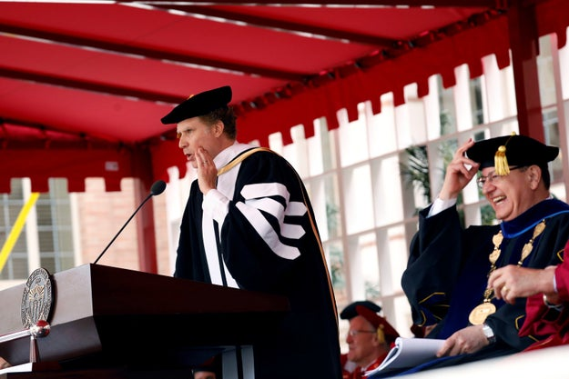 """He was both inspiring and ridiculous throughout. """"All of you excelled in various courses of study,"""" he said. """"All of you, except for four students, and you know exactly who you are."""""""