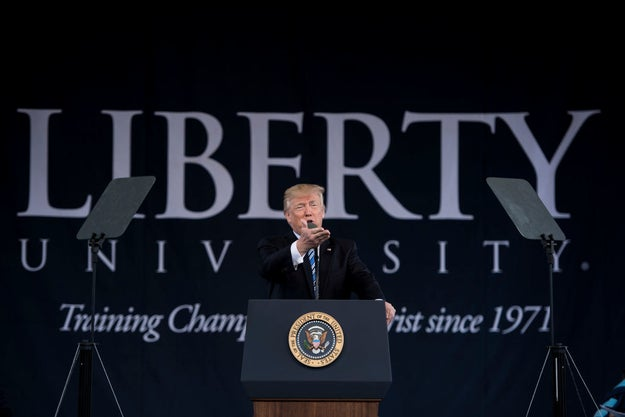 On Saturday morning, President Trump delivered the commencement address at the evangelical Liberty University, giving a long speech on faith, football, and following your dreams to a supportive crowd.